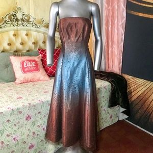 Papell Boutique Evening Dress Ombre Brown Blue